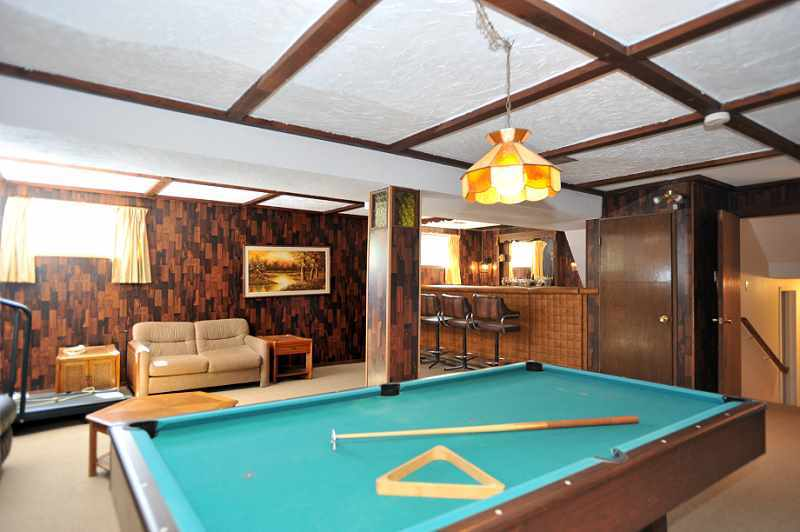 panelled Recreation Room with Berber carpeting, wet bar, cold room