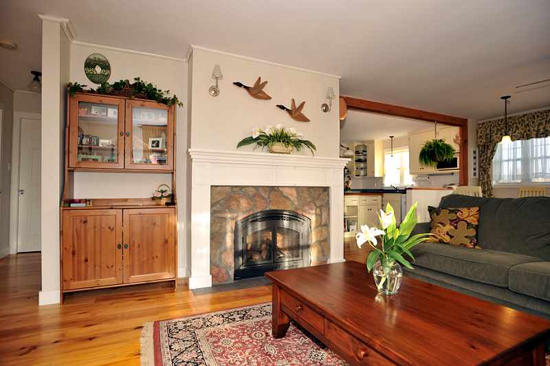 hemlock Floors, stone fireplace, living room