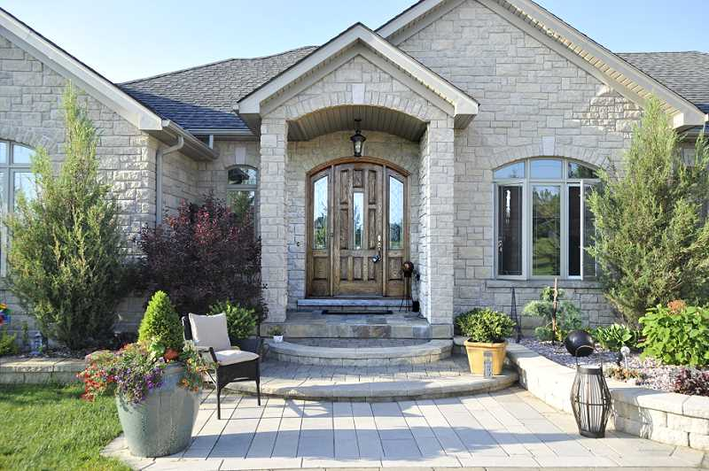 Solid Oak Custom Front Doors stone brick bungalow
