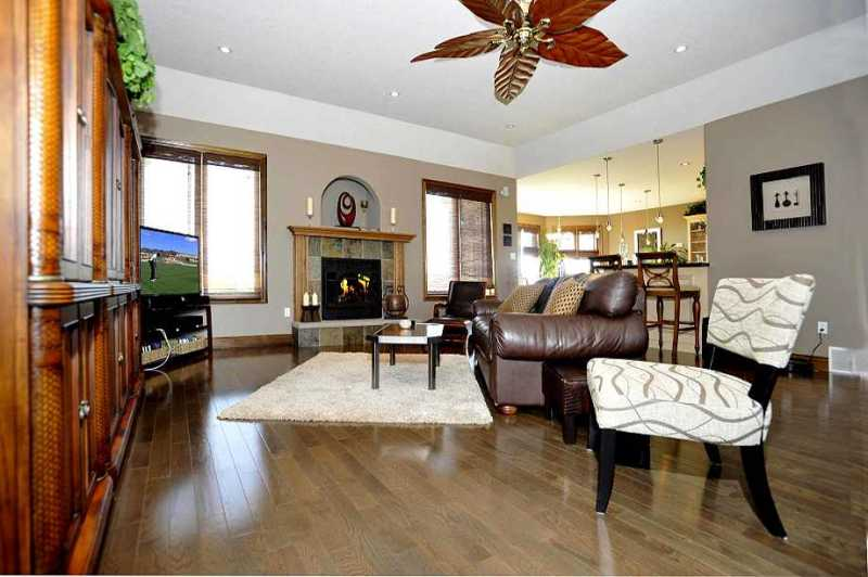 Great Room - hardwood flooring, pot lighting, coffered ceilings, gas fireplace