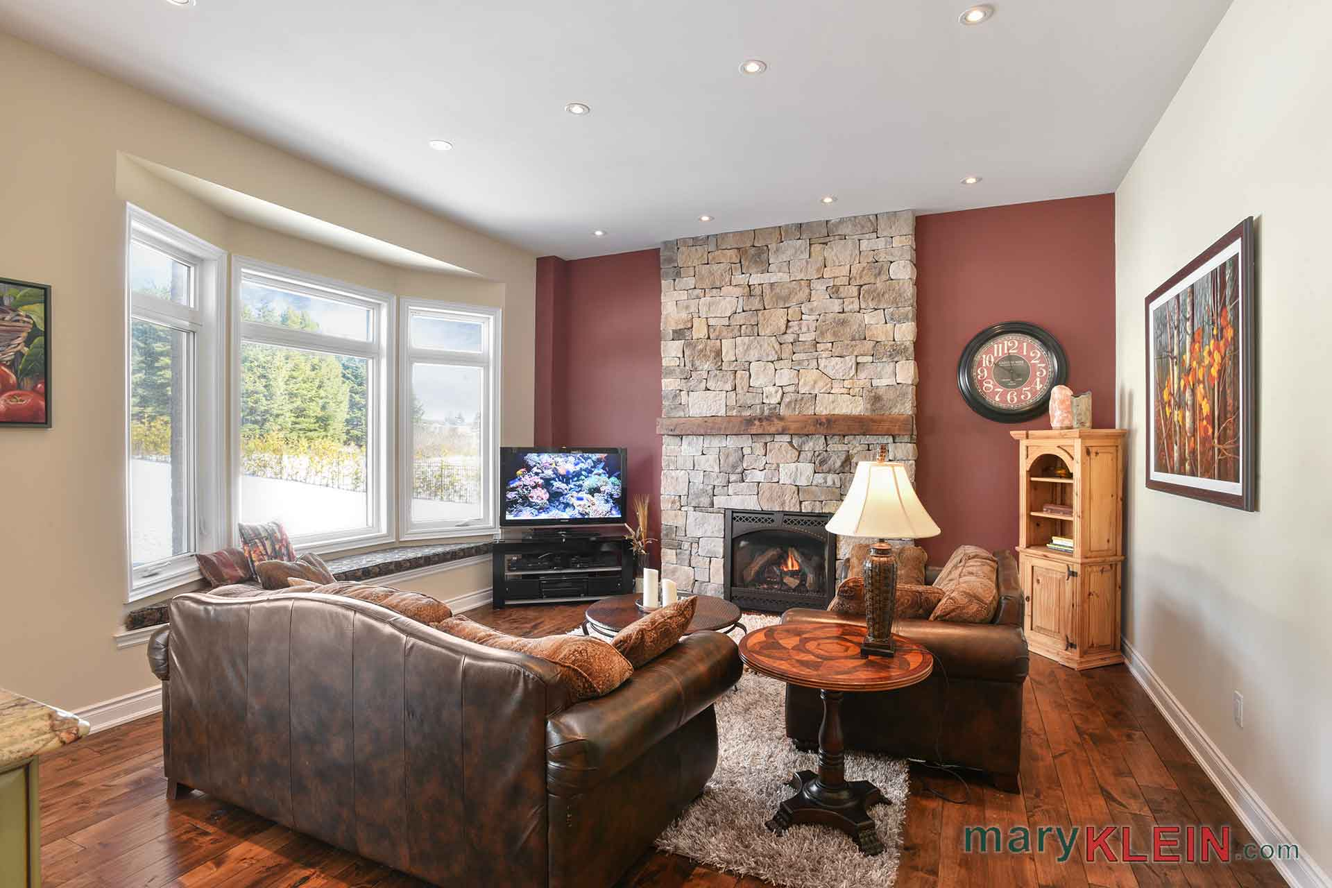 Sunken Family Room, Stacked Stone Fireplace