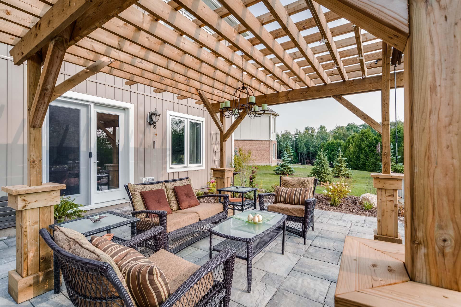 Stone patio, Wooden Pergola