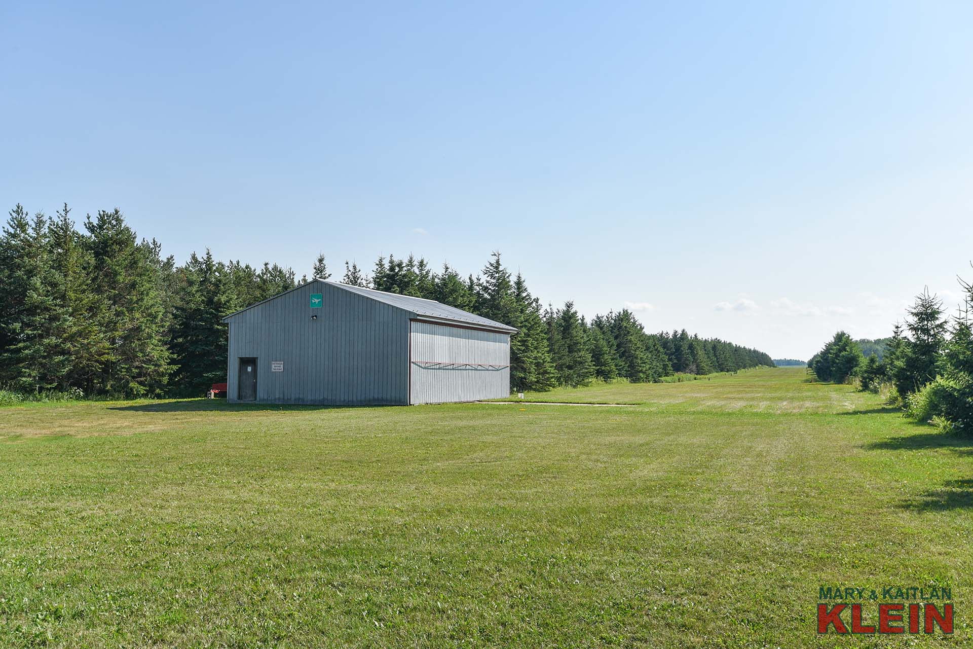 Airplane Hangar, Home, Grass landing strip