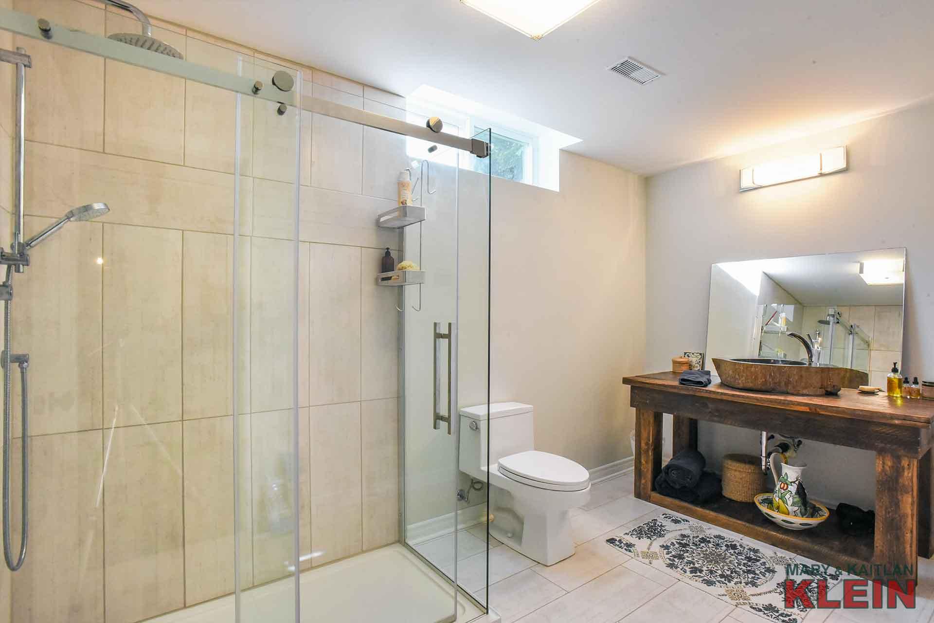 Basement 3 piece bathroom, glass shower
