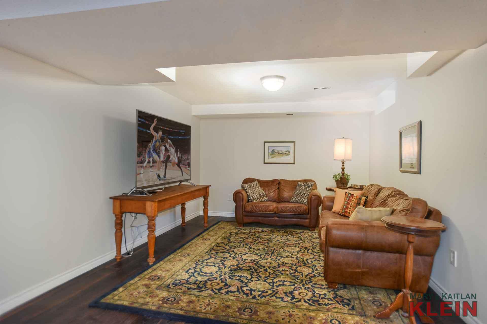 Basement Rec Area - Hardwood Flooring, Pot Lighting