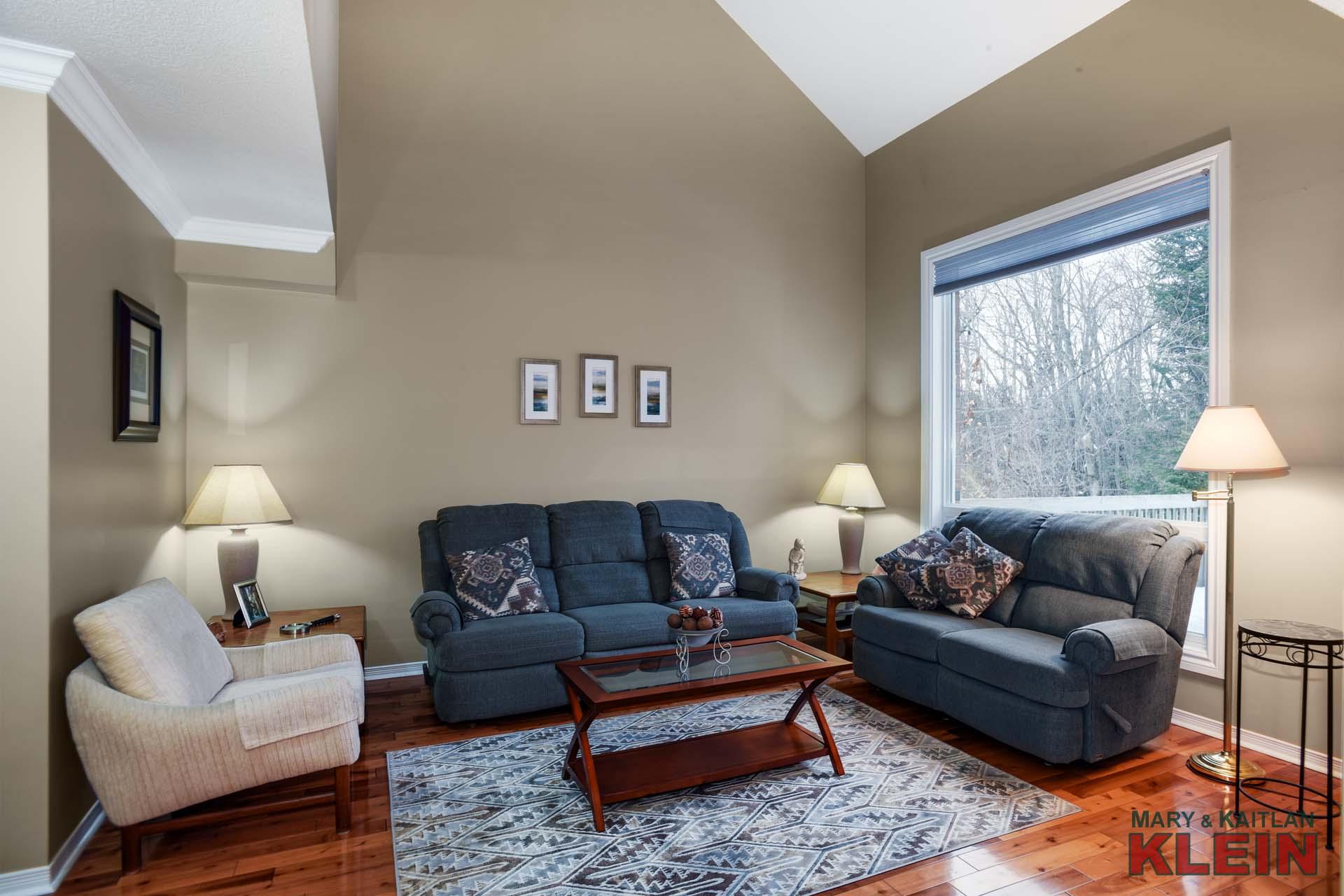 Living Room - Pine Floors, Large Window Overlooking Backyard