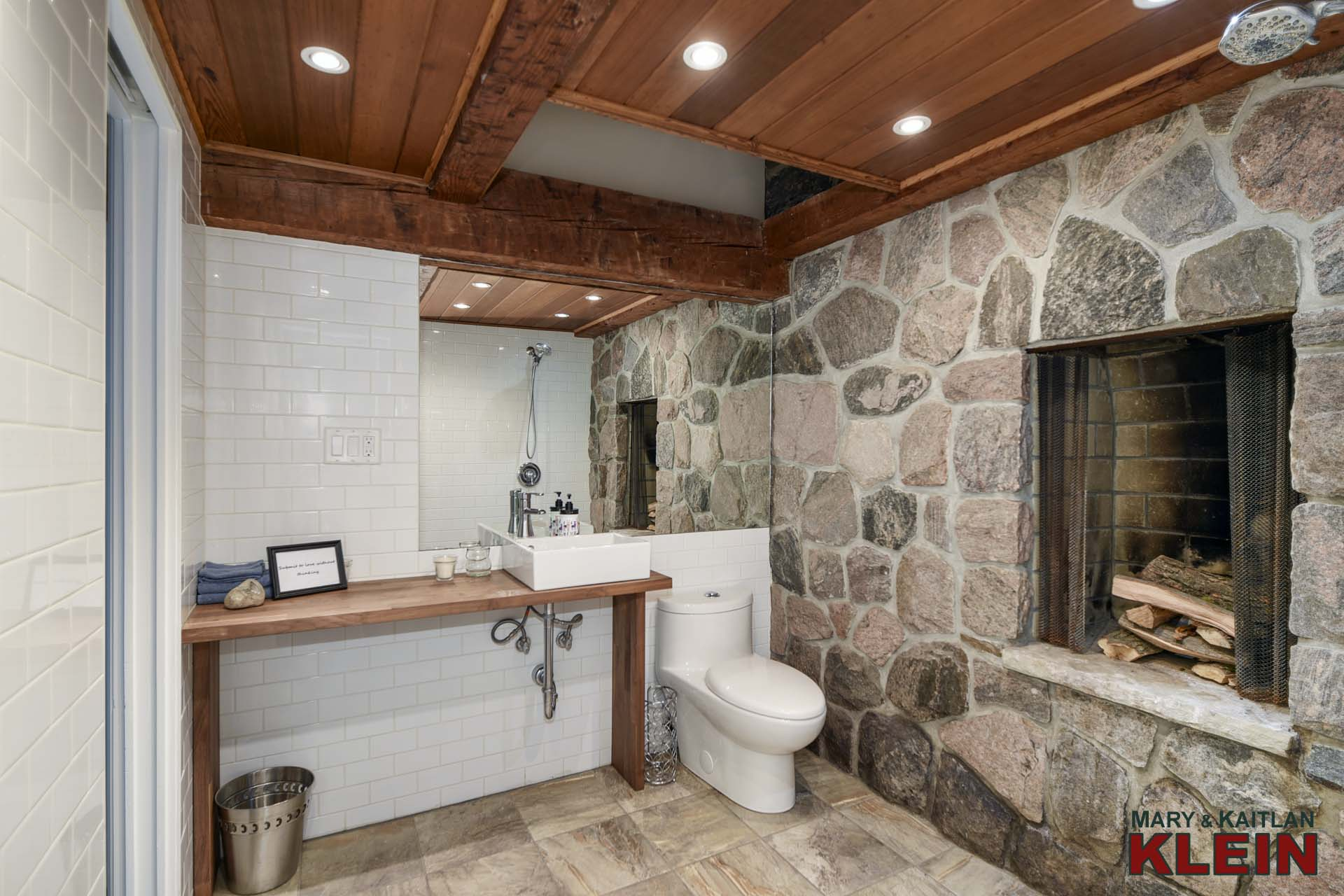 3-Piece Main Bathroom - Stone Fireplace (as is, not used)